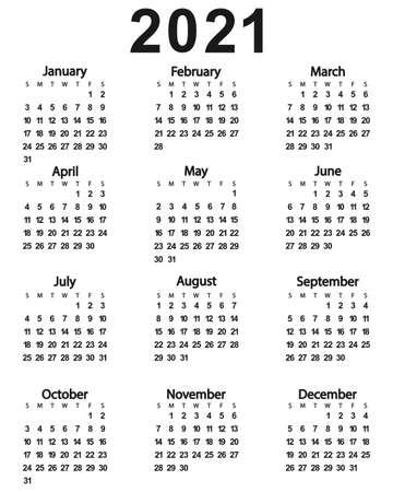 Calendar of the New Year 2021. Vector illustration for design. Иллюстрация