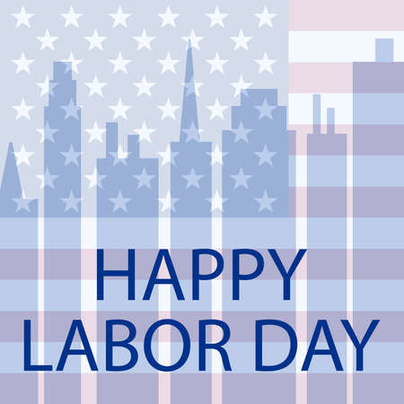 Happy Labor Day in the USA. Vector illustration postcard Иллюстрация
