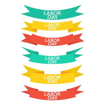Happy Labor Day round banner with ribbon. Sticker illustration vector Ilustração
