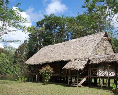 Amazon jungle lodge  Stock Photo