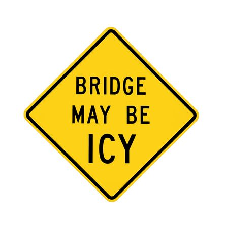 road sign - bridge may be icy, isolated  photo