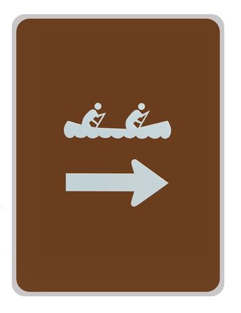 road sign - canoeing, white on brown, isolated