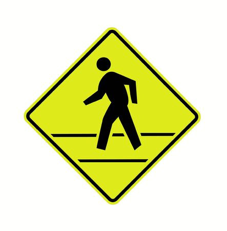 road sign - crosswalk with lines, black on fluorescent, isolated photo