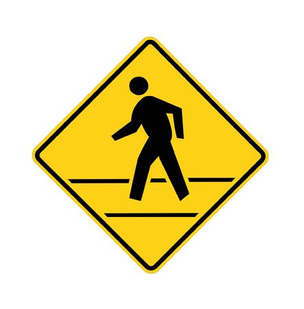 cross walk: road sign - crosswalk with lines, black on yellow, isolated Stock Photo