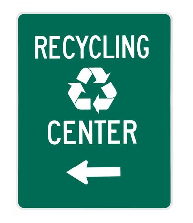 recycling:  road sign - recycling center white on green, isolated