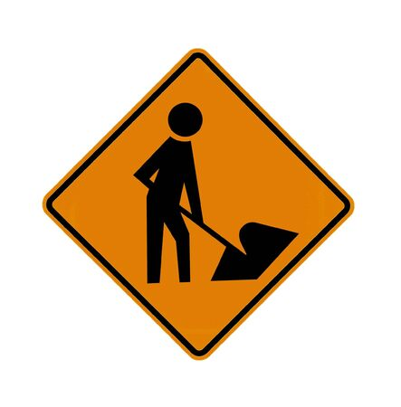 cross road: road sign - construction worker  Stock Photo