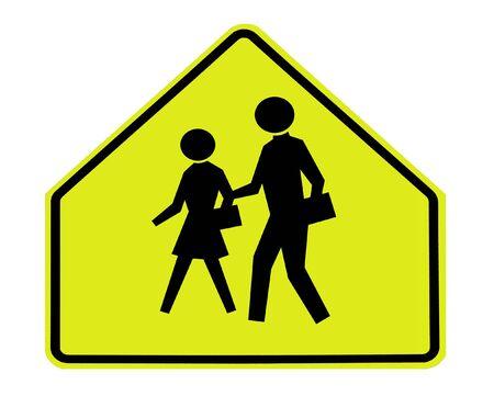 school transportation: signo de carretera - escuela cruzando en amarillo fluorescente  Foto de archivo