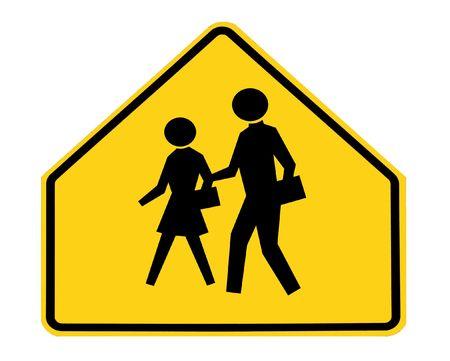 danger ahead: road sign - school crossing