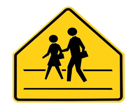 road sign - school crossing with lines