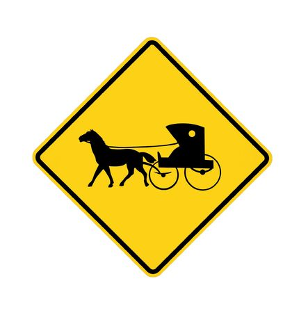 road sign - Amish buggy and horse  Stok Fotoğraf