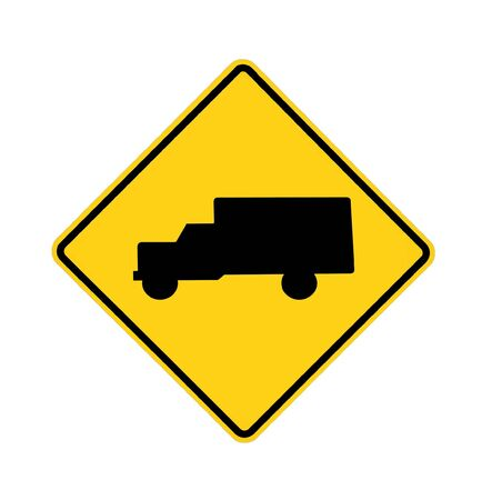 danger ahead: road sign - trucks crossing