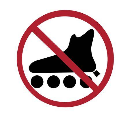 rollerskates:  sign - no rollerskates