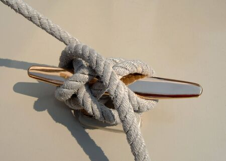cleat:  sailboat rope on cleat