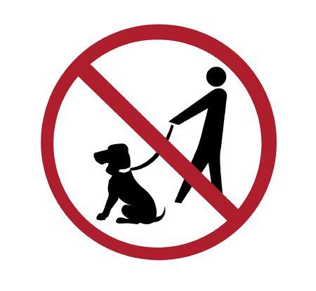 Ne signer - aucun chien à pied, noir et rouge sur blanc  Banque d'images - 6152554