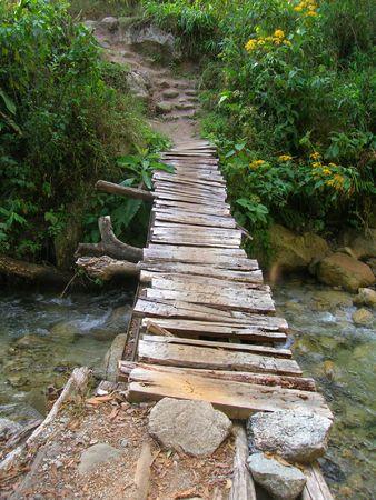 Rickety wooden bridge on the way to the Mandor waterfalls near Machu Picchu 免版税图像 - 6152563