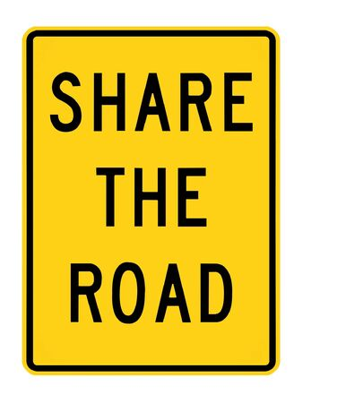 road sign - share the road, black on yellow photo