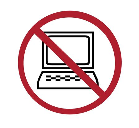 banned: sign - no computers, black on white and red Stock Photo