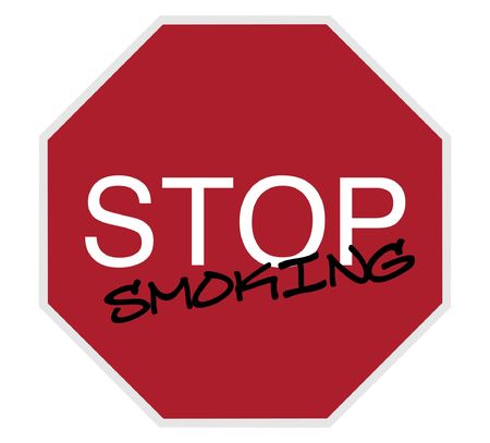 danger ahead: stop sign - stop smoking white on red isolated on white
