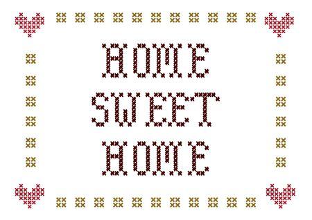 bordados: bordado de hogar dulce hogar Foto de archivo