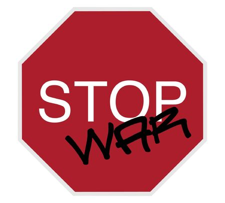 danger ahead: stop sign - stop war black and white on red isolated Stock Photo