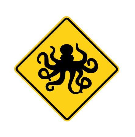 danger ahead: road sign - octopus ahead, black on yellow