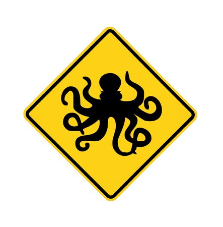 road sign - octopus ahead, black on yellow
