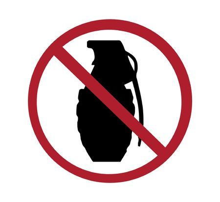 sign - no grenades, black and red on white Stock Photo