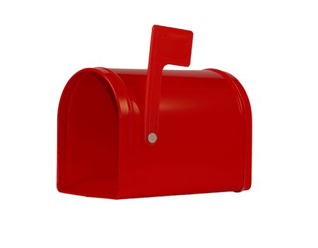 empty red mailbox isolated on white background Stock Photo