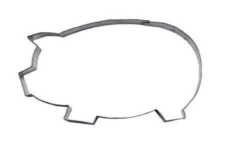 cutter: Homemade pig cookie cutter, isolated on white, Stock Photo