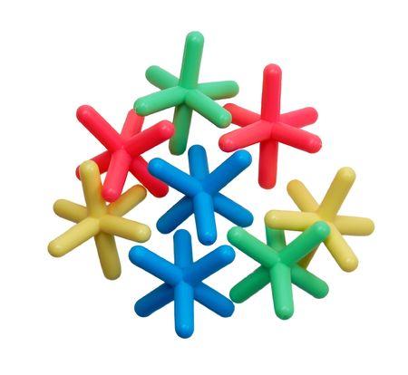 jacks: Jacks, multicolored, isolated on white,