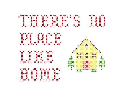 punto cruz: No hay lugar como el hogar de bordado en blanco  Foto de archivo