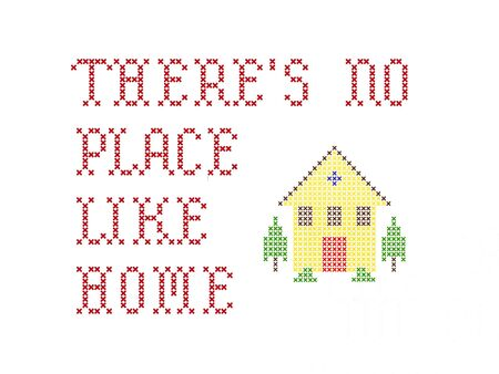 stitch: Theres no place like home embroidery on white