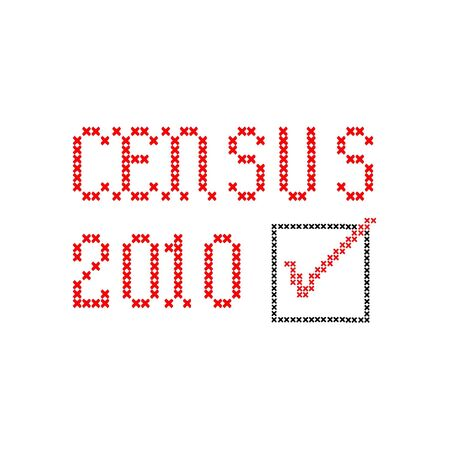 census 2010 with checkbox, black and red, embroidery on white Imagens