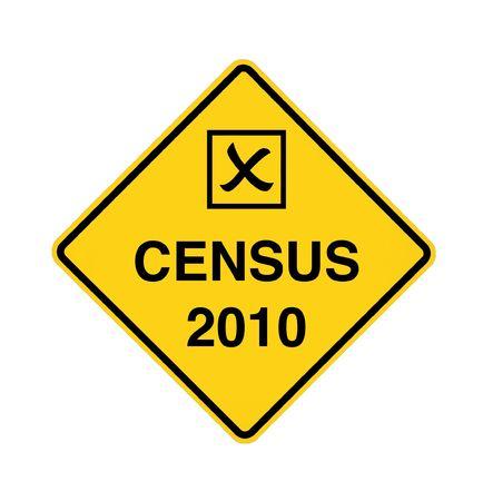 censo: Censo 2010 por delante - con la casilla de verificaci�n  Foto de archivo