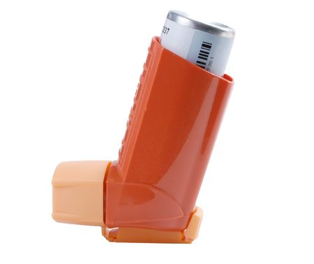 Asthma inhaler isolated on white, with path photo