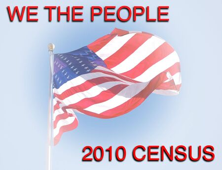 enumeration: 2010 census - We the People with US flag Stock Photo