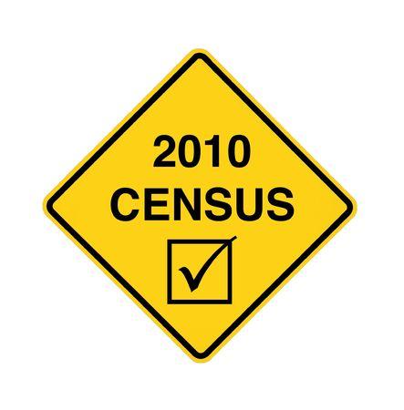 censo: signo de la carretera - censo de 2010, negro sobre amarillo Foto de archivo