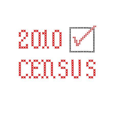 censo: censo 2010 con la casilla de verificaci�n, negro y rojo, bordado en blanco