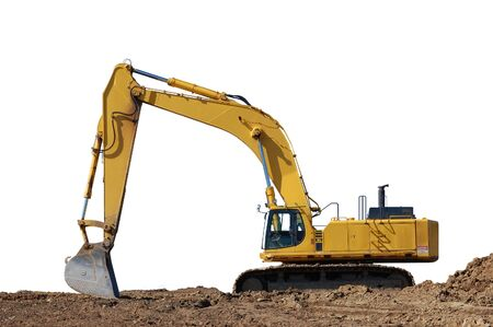 excavation: Excavator and dirt, isolated on white with path Stock Photo