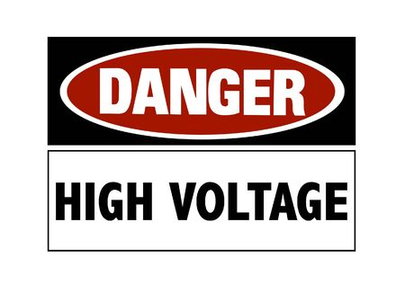Danger sign - high voltage, red and black on white