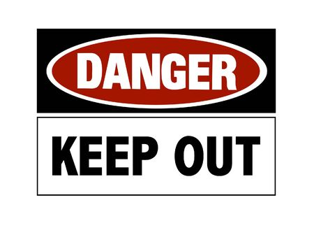 Danger sign - keep out, red and black on white Stock Photo - 6760708