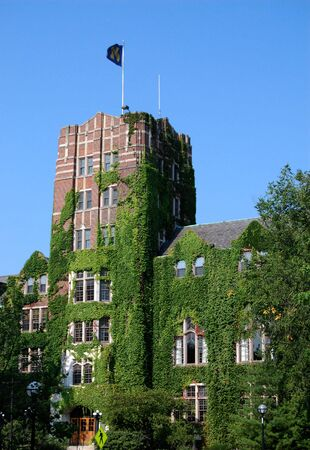 arbor: University of Michigan  Union with M flag Stock Photo