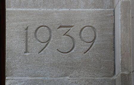 cornerstone: Cornerstone 1939, West Quadrangle, University of Michigan Stock Photo