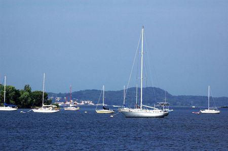 Many moored boats near shore near Muskegon, Michigan photo