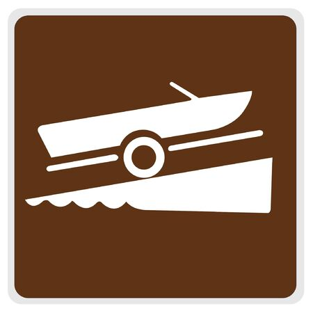 road sign - brown, white boat launch