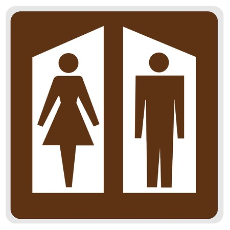 road sign - brown, white restrooms