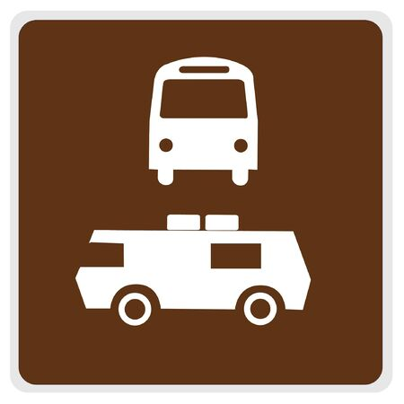 road sign - brown, white bus camper parking  photo