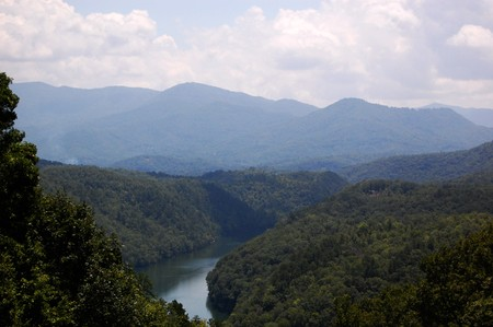 Smoky Mountains - river and valleys and clouds photo