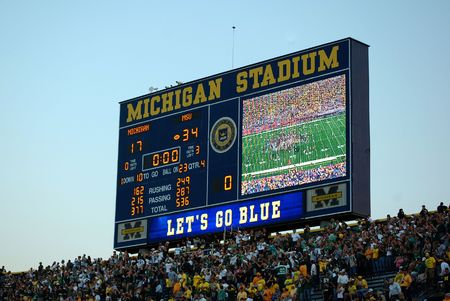 ANN ARBOR, MI - OCTOBER 09: Scoreboard at the conclusion of the Michigan vs. Michigan State football game October 9, 2010.