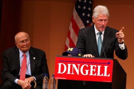 ANN ARBOR, MI - OCTOBER 24: Former President Bill Clinton speaks in support of Congressman John Dingell of Michigan Stock Photo - 8149802